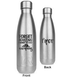 Camping Quotes & Sayings (Shape) RTIC Bottle - Silver - Engraved Front & Back (Personalized)