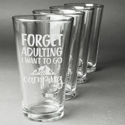 Camping Quotes & Sayings (Shape) Beer Glasses (Set of 4) (Personalized)