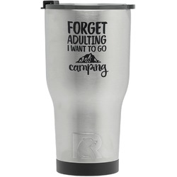 Camping Quotes & Sayings (Shape) RTIC Tumbler - Silver - Engraved Front (Personalized)