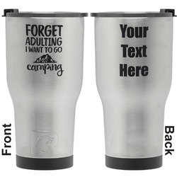 Camping Quotes & Sayings (Shape) RTIC Tumbler - Silver - Engraved Front & Back (Personalized)