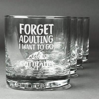 Camping Quotes & Sayings (Shape) Whiskey Glasses (Set of 4) (Personalized)