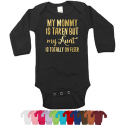Aunt Quotes and Sayings Foil Bodysuit - Long Sleeves - Gold, Silver or Rose Gold (Personalized)
