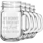 Aunt Quotes and Sayings Mason Jar Mugs (Set of 4) (Personalized)