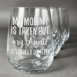 Aunt Quotes and Sayings Wine Glasses (Stemless- Set of 4) (Personalized)