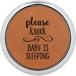 Baby Quotes Leatherette Round Coaster w/ Silver Edge - Single or Set (Personalized)
