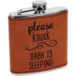 Baby Quotes Leatherette Wrapped Stainless Steel Flask (Personalized)