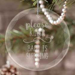 Baby Quotes Engraved Glass Ornament