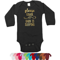 Baby Quotes Foil Bodysuit - Long Sleeves - Gold, Silver or Rose Gold (Personalized)