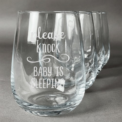 Baby Quotes Stemless Wine Glasses (Set of 4) (Personalized)