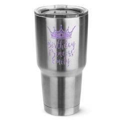 Birthday Princess 30 oz Silver Stainless Steel Tumbler w/Full Color Graphics (Personalized)