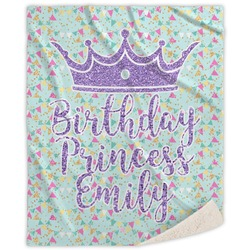 Birthday Princess Sherpa Throw Blanket (Personalized)