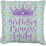 Birthday Princess Faux-Linen Throw Pillow (Personalized)