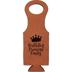 Birthday Princess Leatherette Wine Tote (Personalized)
