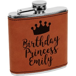 Birthday Princess Leatherette Wrapped Stainless Steel Flask (Personalized)