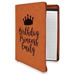Birthday Princess Leatherette Zipper Portfolio with Notepad (Personalized)