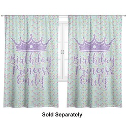 "Birthday Princess Curtains - 56""x80"" Panels - Lined (2 Panels Per Set) (Personalized)"