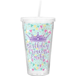 Birthday Princess Double Wall Tumbler with Straw (Personalized)