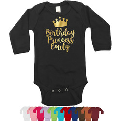 Birthday Princess Foil Bodysuit - Long Sleeves - 6-12 months - Gold, Silver or Rose Gold (Personalized)