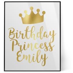Birthday Princess 8x10 Foil Wall Art - White (Personalized)