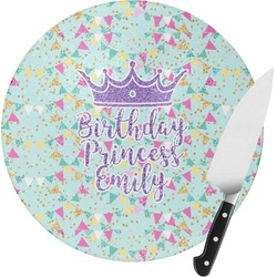 Birthday Princess Round Glass Cutting Board (Personalized)
