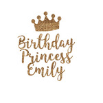 Birthday Princess Glitter Iron On Transfer- Custom Sized (Personalized)