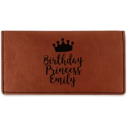 Birthday Princess Leatherette Checkbook Holder - Double Sided (Personalized)