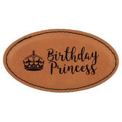 Birthday Princess Leatherette Oval Name Badge with Magnet (Personalized)