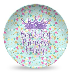 Birthday Princess Microwave Safe Plastic Plate - Composite Polymer (Personalized)