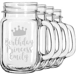 Birthday Princess Mason Jar Mugs (Set of 4) (Personalized)