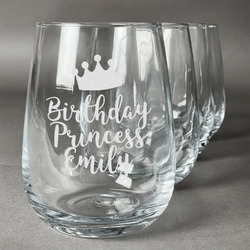 Birthday Princess Stemless Wine Glasses (Set of 4) (Personalized)