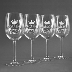Birthday Princess Wine Glasses (Set of 4) (Personalized)
