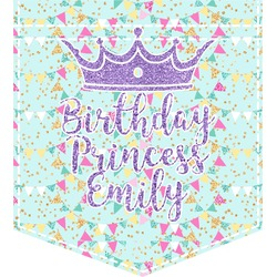Birthday Princess Iron On Faux Pocket (Personalized)