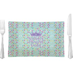 Birthday Princess Rectangular Glass Lunch / Dinner Plate - Single or Set (Personalized)