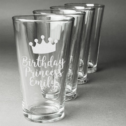 Birthday Princess Beer Glasses (Set of 4) (Personalized)