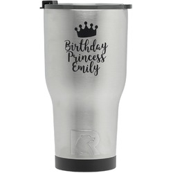 Birthday Princess RTIC Tumbler - Silver - Engraved Front (Personalized)