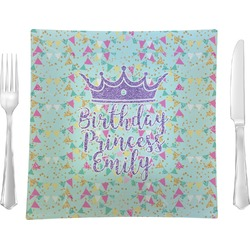 "Birthday Princess 9.5"" Glass Square Lunch / Dinner Plate- Single or Set of 4 (Personalized)"