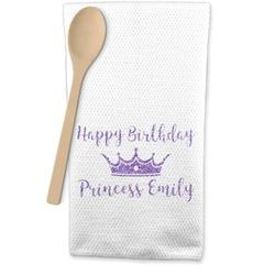 Birthday Princess Waffle Weave Kitchen Towel (Personalized)
