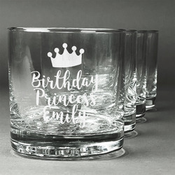 Birthday Princess Whiskey Glasses (Set of 4) (Personalized)