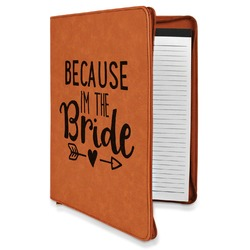 Bride / Wedding Quotes and Sayings Leatherette Zipper Portfolio with Notepad (Personalized)