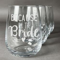 Bride / Wedding Quotes and Sayings Wine Glasses (Stemless- Set of 4) (Personalized)