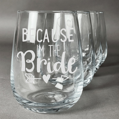 Bride / Wedding Quotes and Sayings Stemless Wine Glasses (Set of 4) (Personalized)