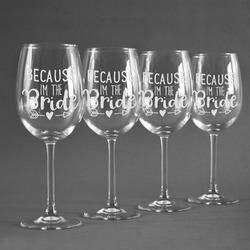 Bride / Wedding Quotes and Sayings Wine Glasses (Set of 4) (Personalized)