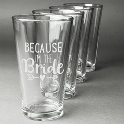 Bride / Wedding Quotes and Sayings Beer Glasses (Set of 4) (Personalized)