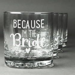Bride / Wedding Quotes and Sayings Whiskey Glasses (Set of 4) (Personalized)