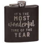 Christmas Quotes and Sayings Black Flask Set (Personalized)