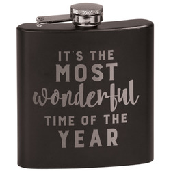 Christmas Quotes and Sayings Black Flask (Personalized)