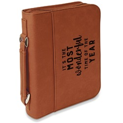 Christmas Quotes and Sayings Leatherette Book / Bible Cover with Handle & Zipper (Personalized)