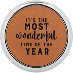 Christmas Quotes and Sayings Leatherette Round Coaster w/ Silver Edge - Single or Set (Personalized)