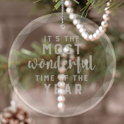 Christmas Quotes and Sayings Engraved Glass Ornament