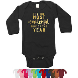 Christmas Quotes and Sayings Foil Bodysuit - Long Sleeves - Gold, Silver or Rose Gold (Personalized)